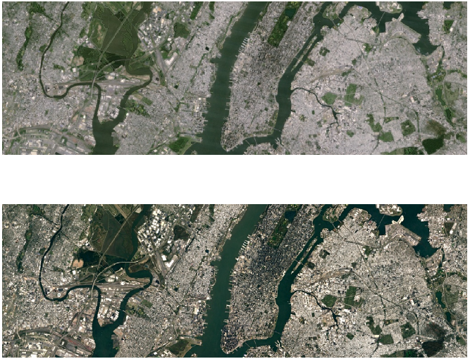 Before (up) and After (down) the update for more detailed satellite imagery