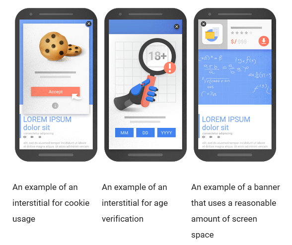 Examples of interstitials that would not be affected by the new signal, if used responsibly, Source: Google Webmaster Central Blog