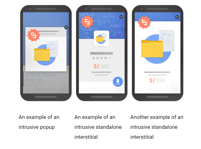 Examples of interstitials that make content less accessible, Source: Google Webmaster Central Blog
